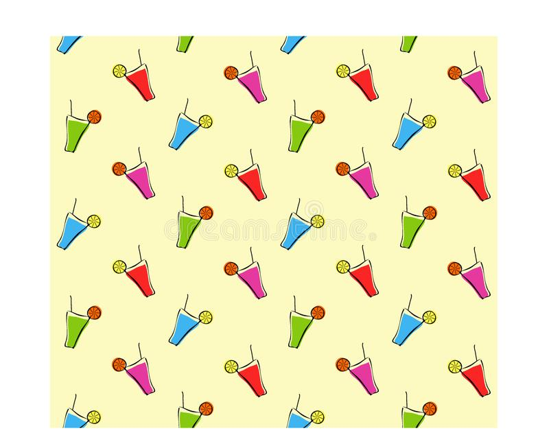 Teste padrão sem emenda simples Cocktail brilhantes Partido fresco do divertimento ilustração royalty free