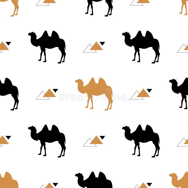 Teste padrão sem emenda simples com camelos Vetor Teste padrão do vetor Ouro e camelo preto ilustração stock