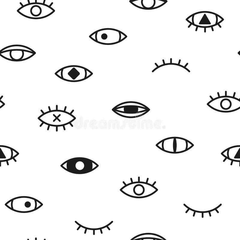 Teste padrão sem emenda simples com olhos Fundo de Memphis - forme o estilo 80 - 90s ilustração stock