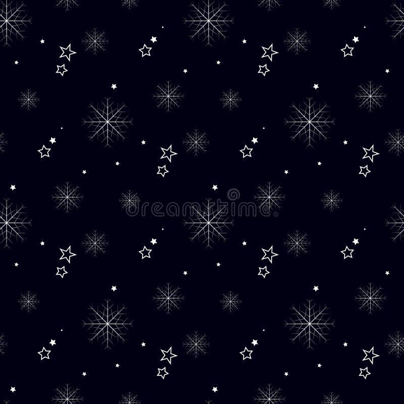 Teste padrão sem emenda simples do floco de neve no preto Papel de parede abstrato, envolvendo a decoração Símbolo do inverno, fe ilustração stock