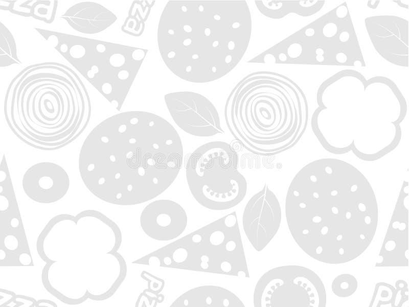 Teste padrão sem emenda simples dos ingredientes da pizza ilustração stock