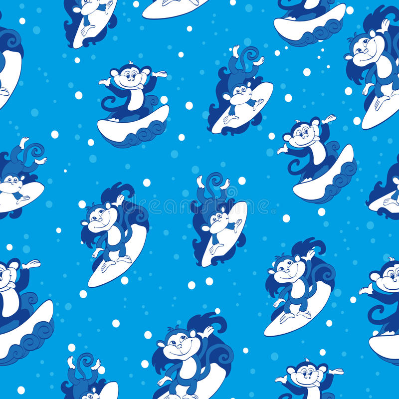 Teste padrão sem emenda surfando azul dos macacos do vetor ilustração stock