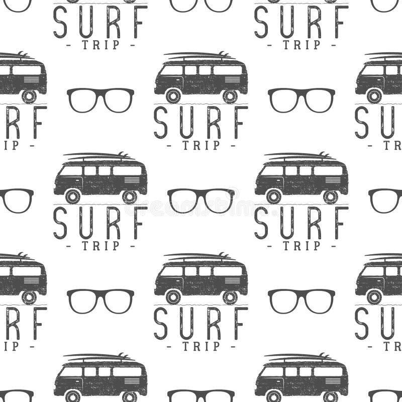 Teste padrão sem emenda surfando com vidro Camionete do surfista, elementos dos vidros projeto da impressão do papel de parede do ilustração stock