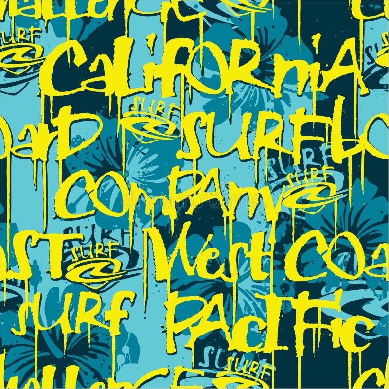 Teste padrão sem emenda surfando da empresa de Califórnia da costa oeste ilustração stock