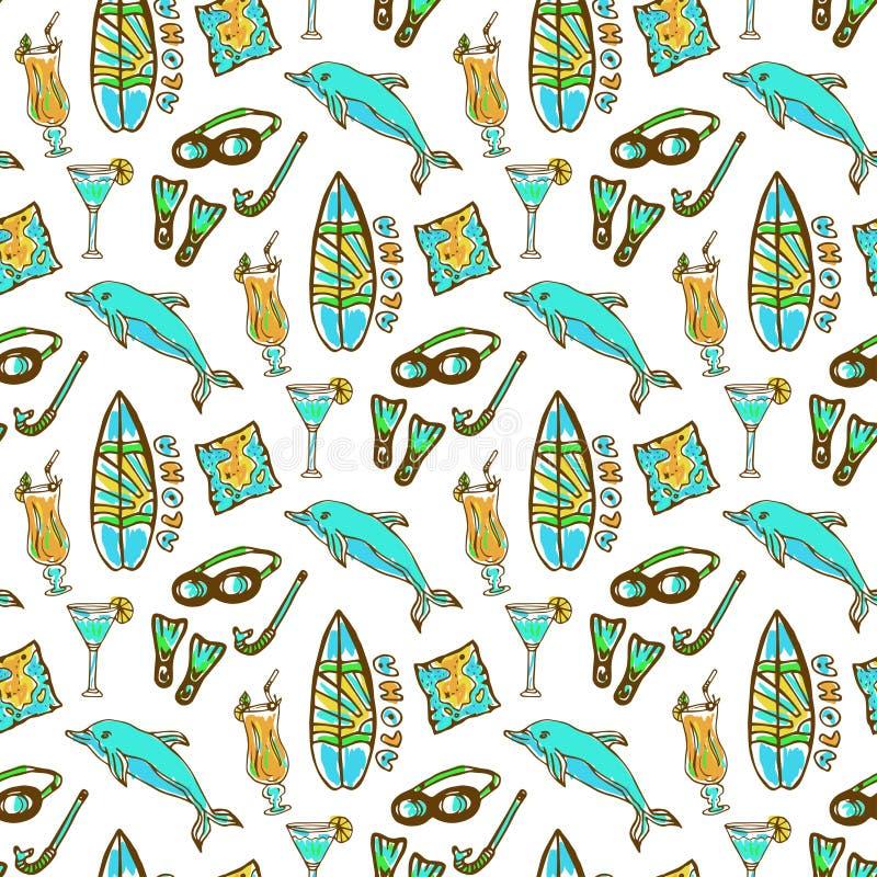 Teste padrão sem emenda surfando e de mergulho tirado mão Teste padrão de Havaí com placa do golfinho, do cocktail e de ressaca F ilustração stock