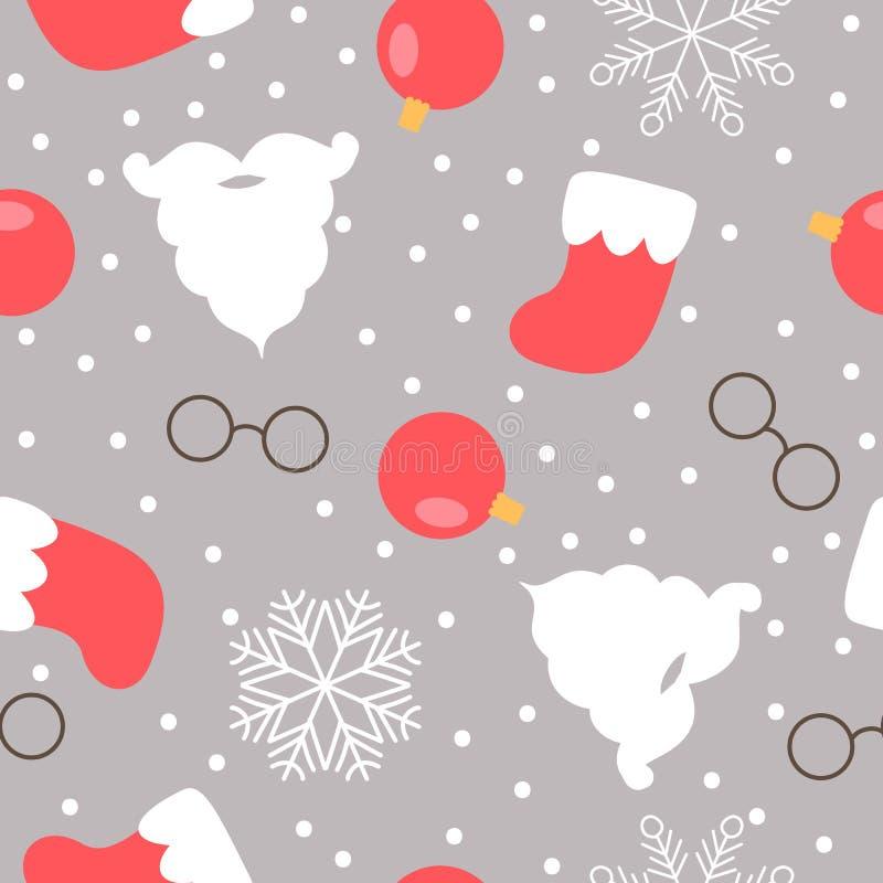 Teste padrão sem emenda temático do Natal Barba, vidros e botas de Santa ilustração royalty free