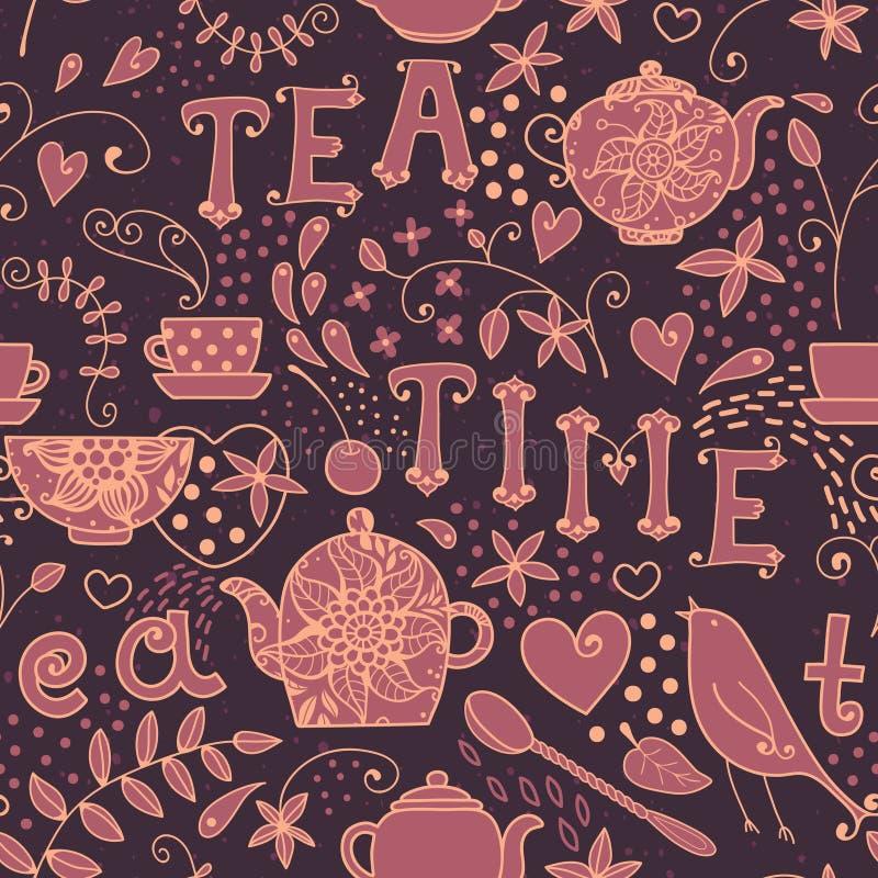Teste padrão sem emenda - tempo do chá ilustração stock