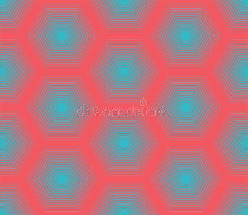 Teste padrão sem emenda Textura à moda moderna com treliça monocromática Repetindo a grade geométrica do pentagon Projeto gráfico ilustração stock