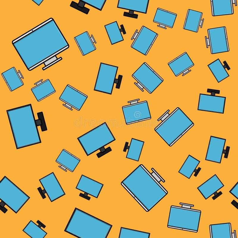 Teste padrão sem emenda, textura de monitores frameless de cristal líquidos retangulares digitais modernos do tela panorâmico do  ilustração stock