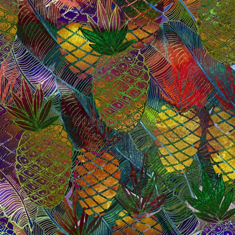 Teste padrão sem emenda textured aquarela Fundo tropical Pinea ilustração stock