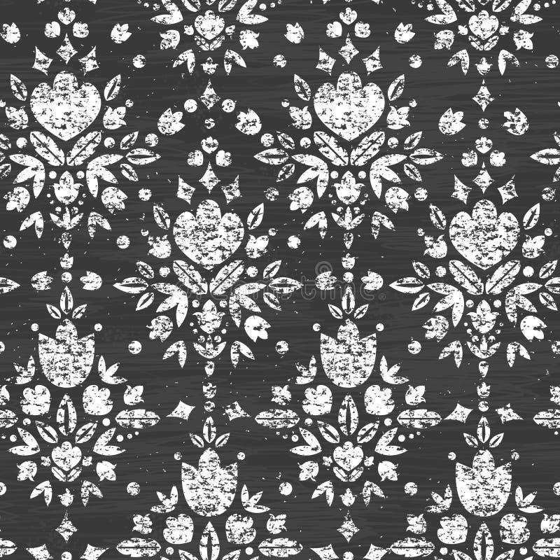 Teste padrão sem emenda textured giz do damasco floral ilustração do vetor
