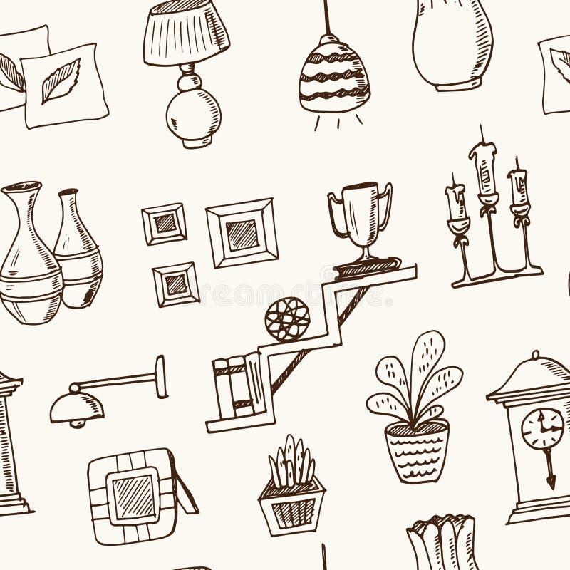 Teste padrão sem emenda tirado da garatuja da decoração mão home esboços Ilustração do vetor para o produto do projeto e dos paco ilustração stock