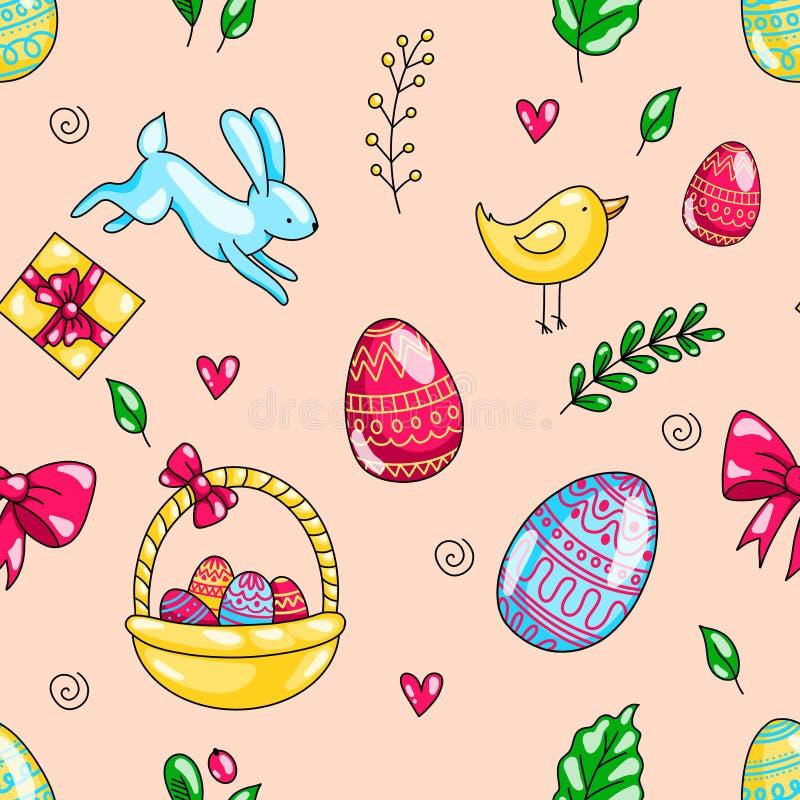 Teste padrão sem emenda tirado da garatuja dos desenhos animados dos ovos da páscoa mão feliz com ovos coelho e pintainho ilustração stock