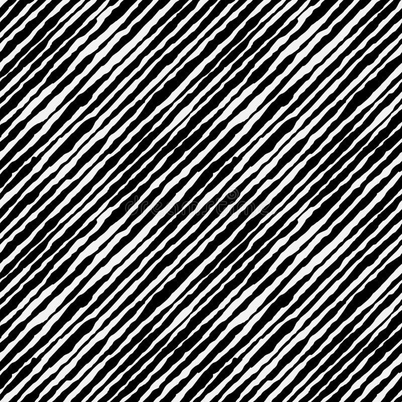 Teste padrão sem emenda tirado da tinta de Boho mão listrada diagonal ilustração do vetor