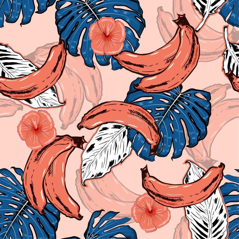 Teste padrão sem emenda tirado de Sumemr mão bonita na moda com tropica ilustração stock