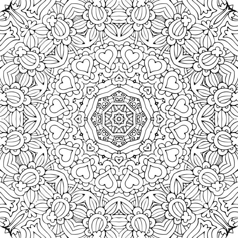 Teste padrão sem emenda tirado do contorno esboçado do vetor mão étnica decorativa abstrata ilustração stock