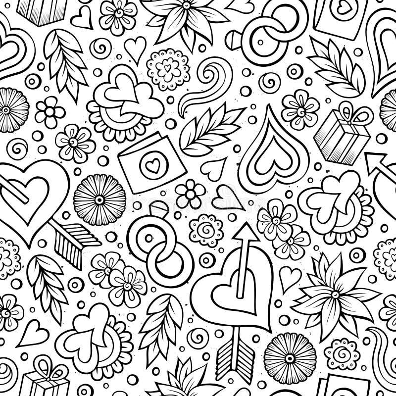 Teste padrão sem emenda tirado do dia do ` s do Valentim dos desenhos animados mão bonito ilustração royalty free