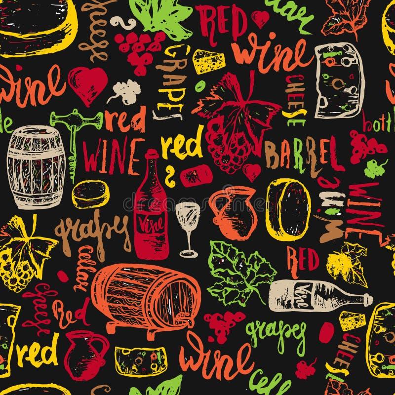 Teste padrão sem emenda tirado do vinho mão sem emenda Ilustração do vetor O vinho assina - a garrafa, vidro, uva, folha da uva,  ilustração stock