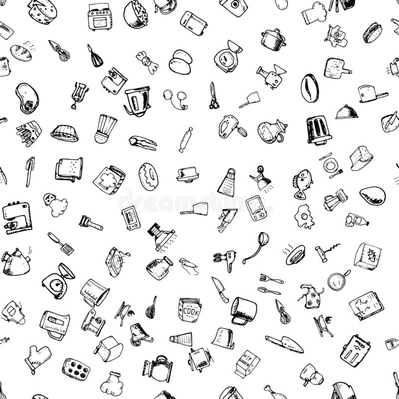 Teste padrão sem emenda tirado mão com ícones de cozimento decorativos Fundo do esboço do vetor com utensílios da cozinha, vegeta ilustração stock