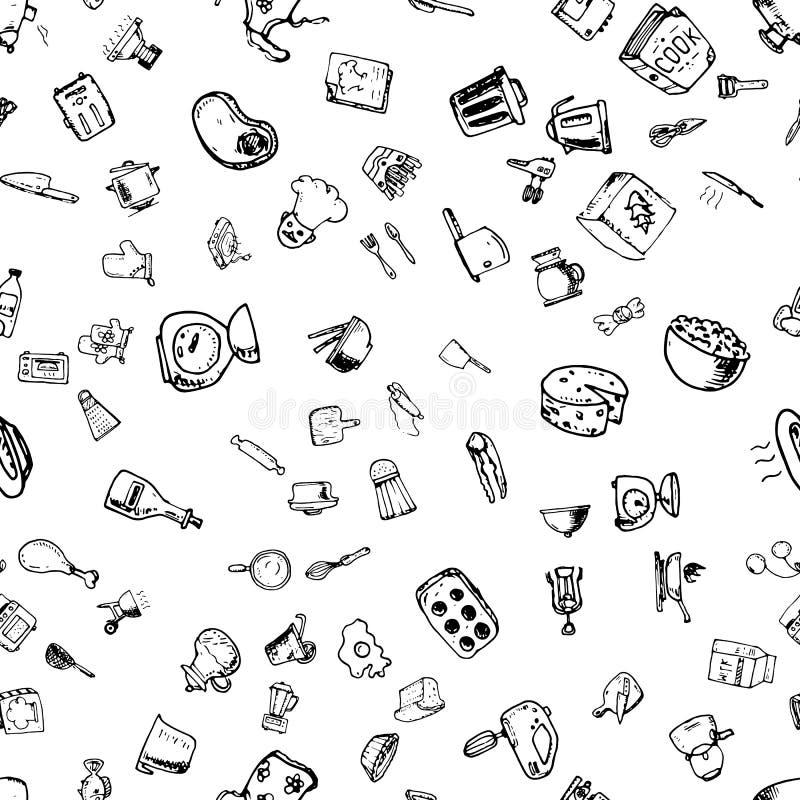Teste padrão sem emenda tirado mão com ícones de cozimento decorativos Fundo do esboço do vetor com utensílios da cozinha, vegeta ilustração do vetor