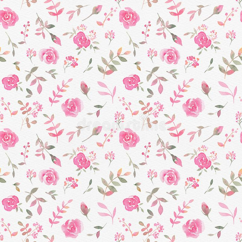 Teste padrão sem emenda tirado mão com as flores cor-de-rosa da aquarela ilustração do vetor
