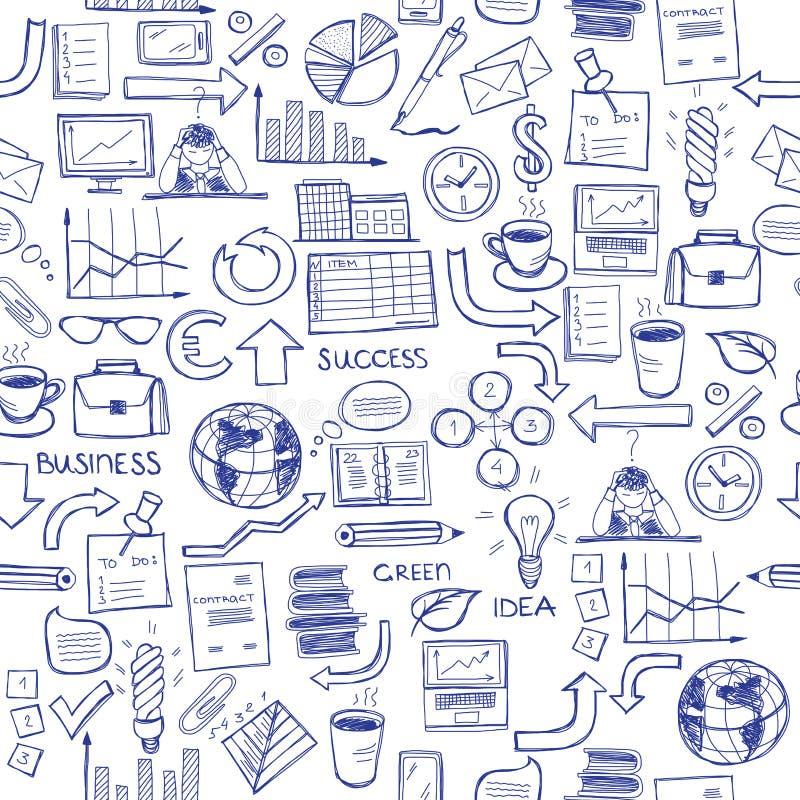 Teste padrão sem emenda tirado mão com símbolos do negócio ilustração do vetor