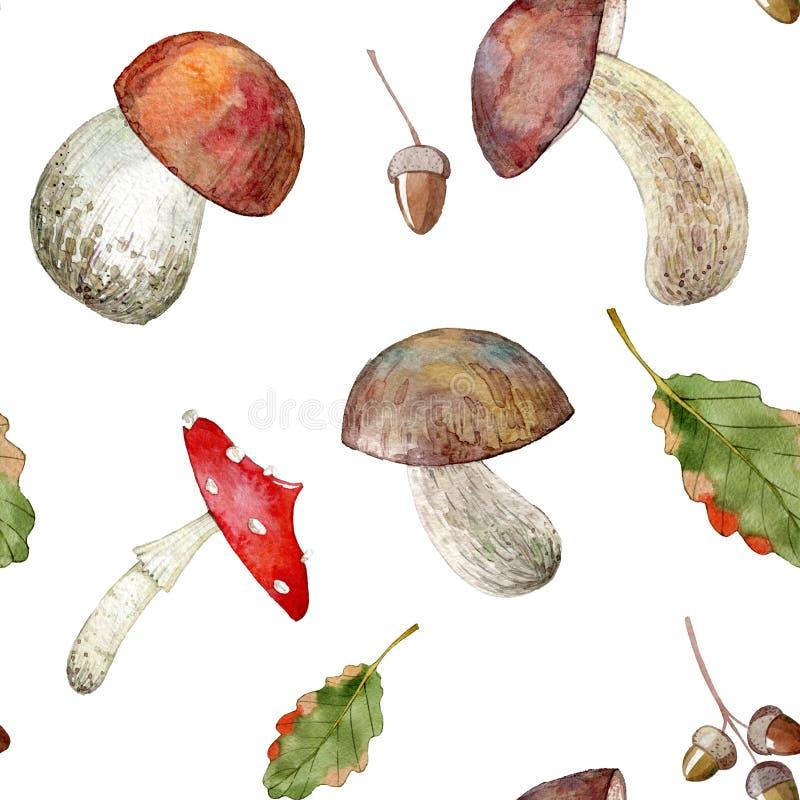 Teste padrão sem emenda tirado mão da aquarela dos cogumelos ilustração stock
