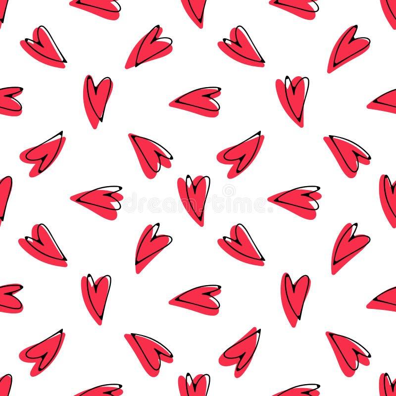 Teste padrão sem emenda tirado mão da garatuja do coração ilustração stock