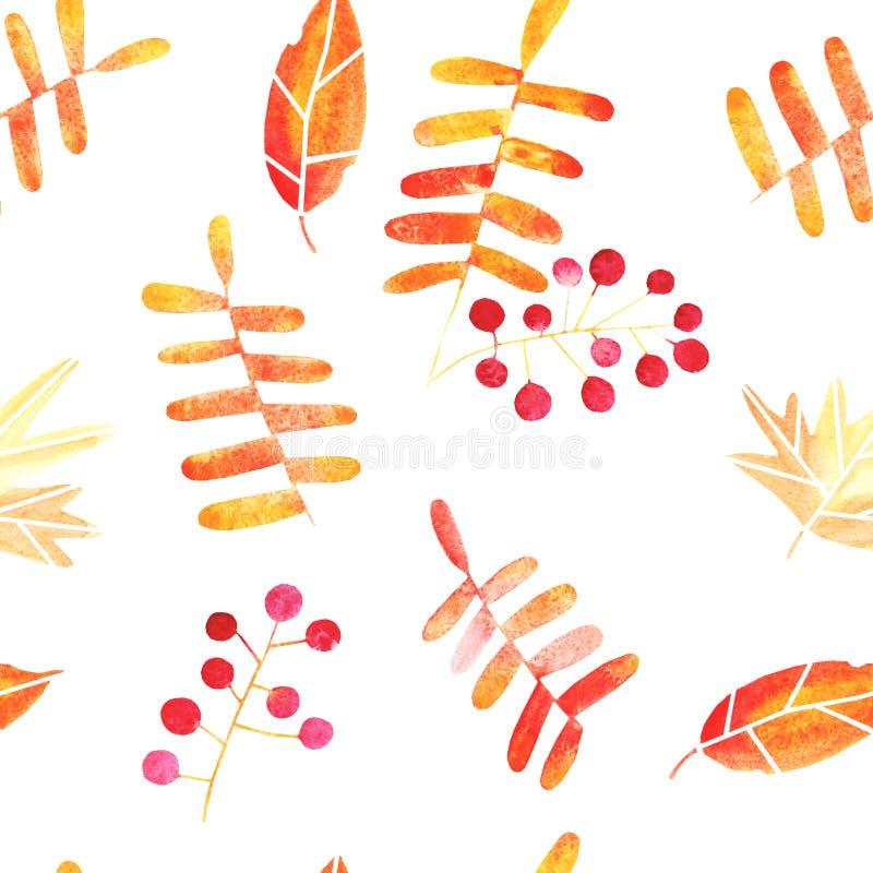 Teste padrão sem emenda tirado mão das folhas de outono da aquarela ilustração do vetor