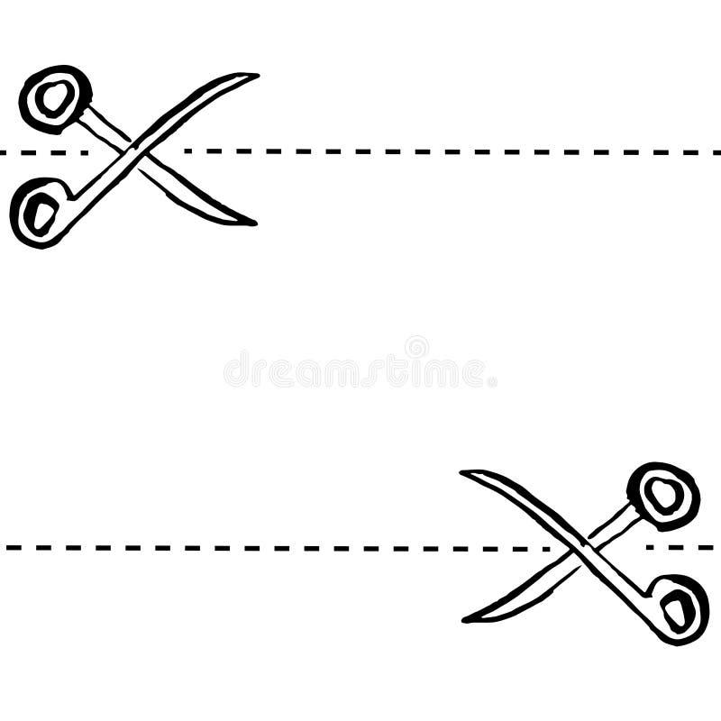 Teste padrão sem emenda tirado mão das tesouras da tinta do Grunge Ilustração do vetor ilustração stock