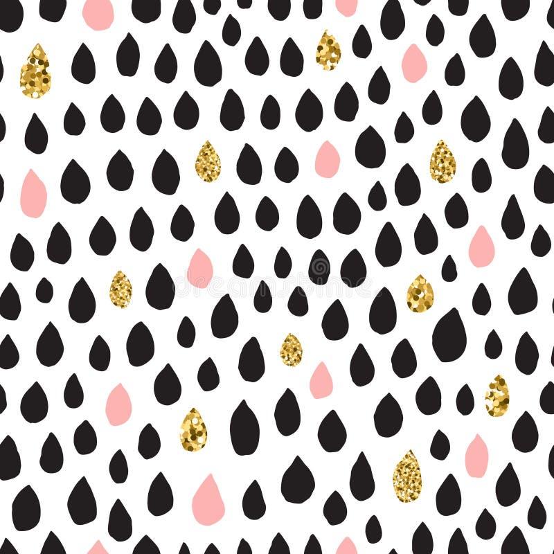 Teste padrão sem emenda tirado mão de tinta preta, cor-de-rosa & do ouro do vetor da gota ilustração royalty free