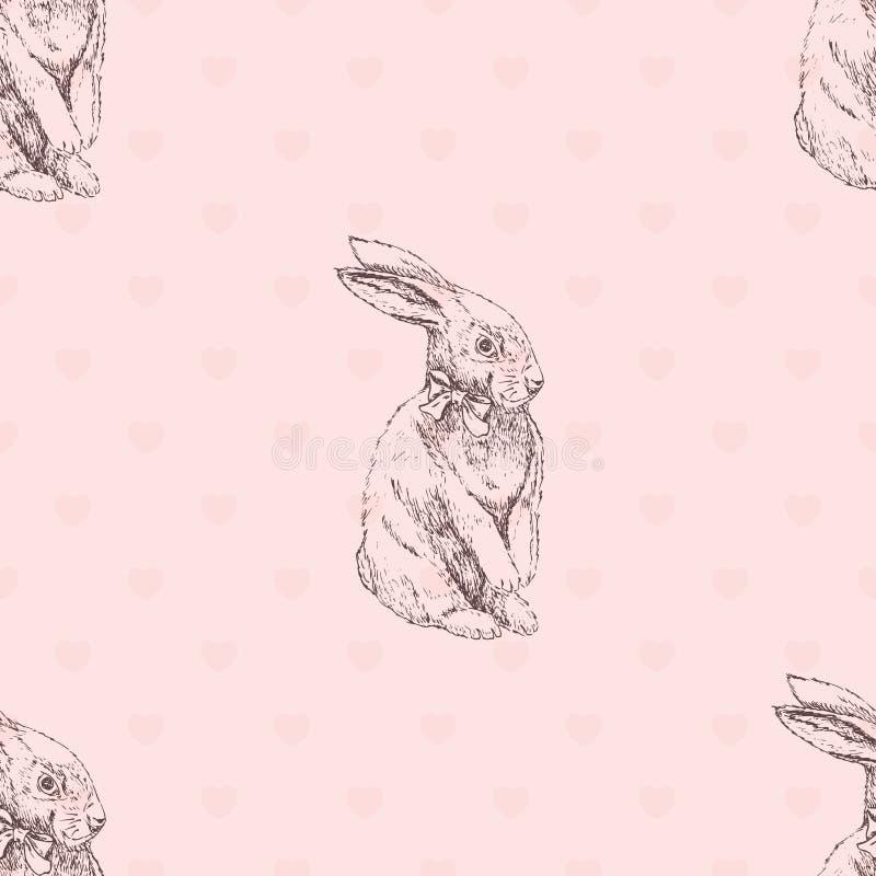 Teste padrão sem emenda tirado mão do coelhinho da Páscoa Teste padrão sem emenda do esboço do coelho ilustração stock