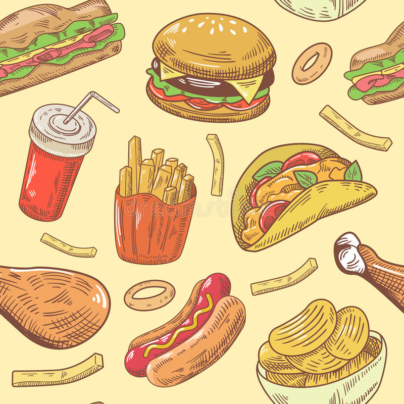 Teste padrão sem emenda tirado mão do fast food com hamburguer, galinha e fritadas ilustração stock