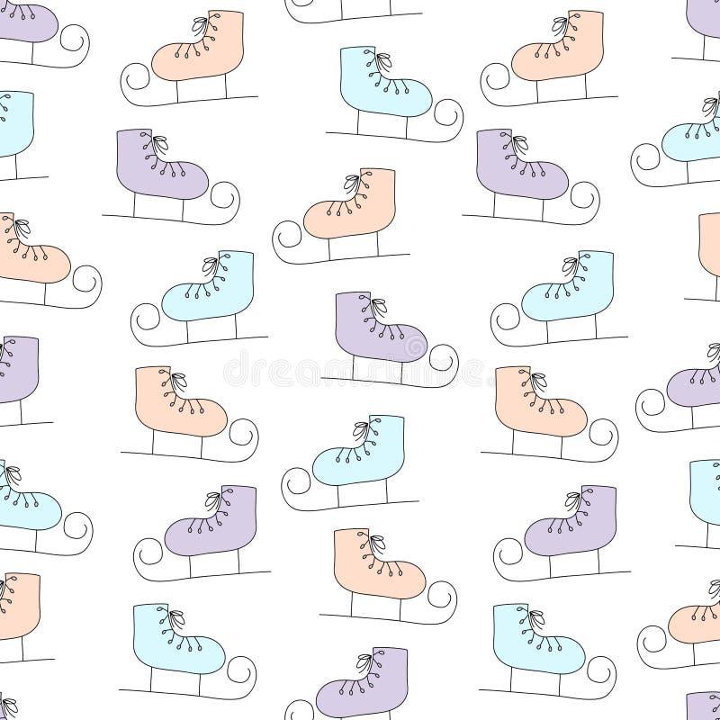 Teste padr?o sem emenda tirado m?o do inverno com os patins de gelo dos desenhos animados ilustração stock