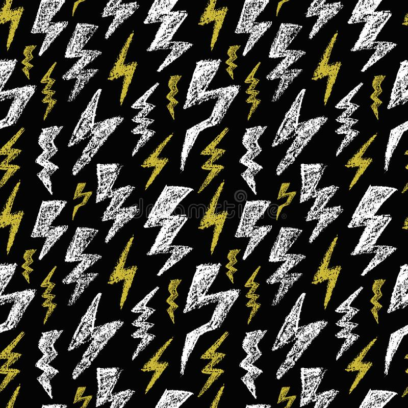 Teste padrão sem emenda tirado mão do parafuso de relâmpago Amarelo branco preto Textura do projeto da forma para a matéria têxti ilustração do vetor