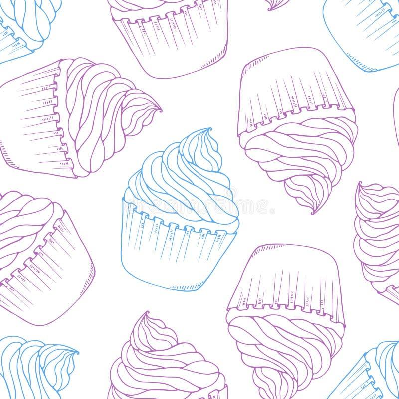 Teste padrão sem emenda tirado mão do queque Fundo da sobremesa da garatuja do esboço ilustração royalty free