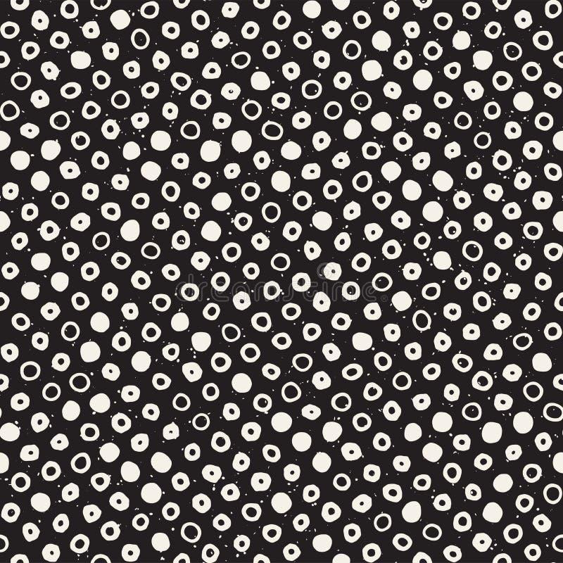 Teste padrão sem emenda tirado mão do sumário preto e branco da tinta Textura à moda do grunge do vetor Formas dispersadas Monoch ilustração royalty free