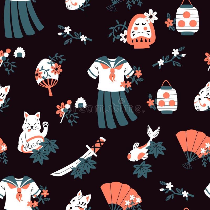 Teste padrão sem emenda tirado mão do vetor com flores e símbolos de Japão no estilo da garatuja ilustração do vetor
