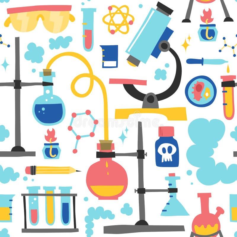 Teste padrão sem emenda tirado mão do vetor da química ilustração royalty free