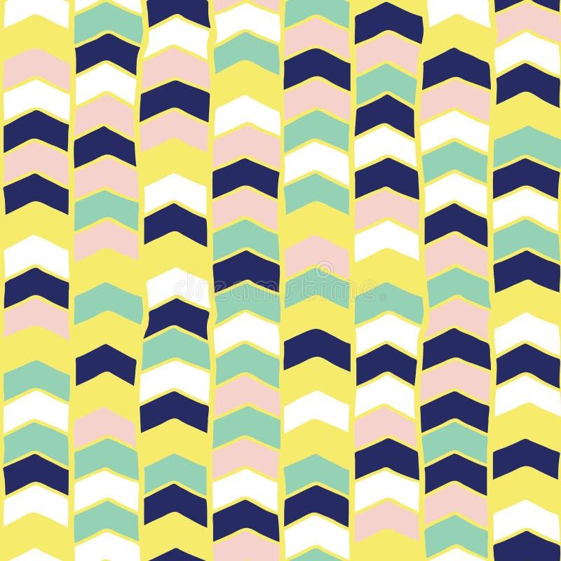Teste padrão sem emenda tirado mão do vetor de Chevron Verde da cerceta das setas, amarelo, azul, rosa, fundo abstrato branco Cri ilustração do vetor