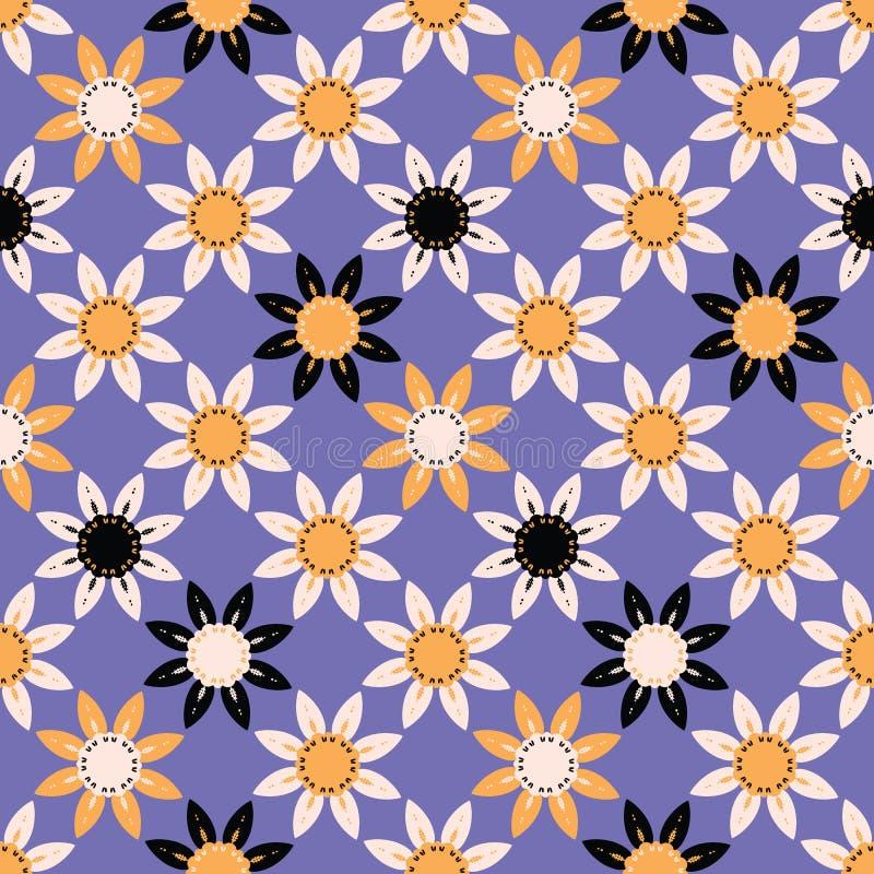 Teste padr?o sem emenda tirado m?o do vetor floral da grande escala Coral Background ilustração royalty free
