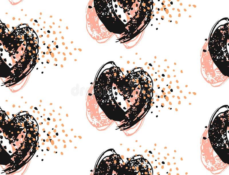 Teste padrão sem emenda tirado mão do vetor do sumário de corações de pintura da escova da tinta com brilho Cores pasteis, preto  ilustração stock