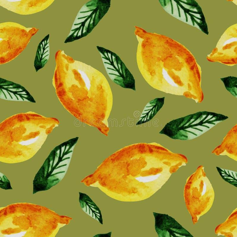Teste padrão sem emenda tirado mão do vintage da aquarela do limão e das folhas amarelos maduros Fruto tropical, exótico Cópia da ilustração royalty free
