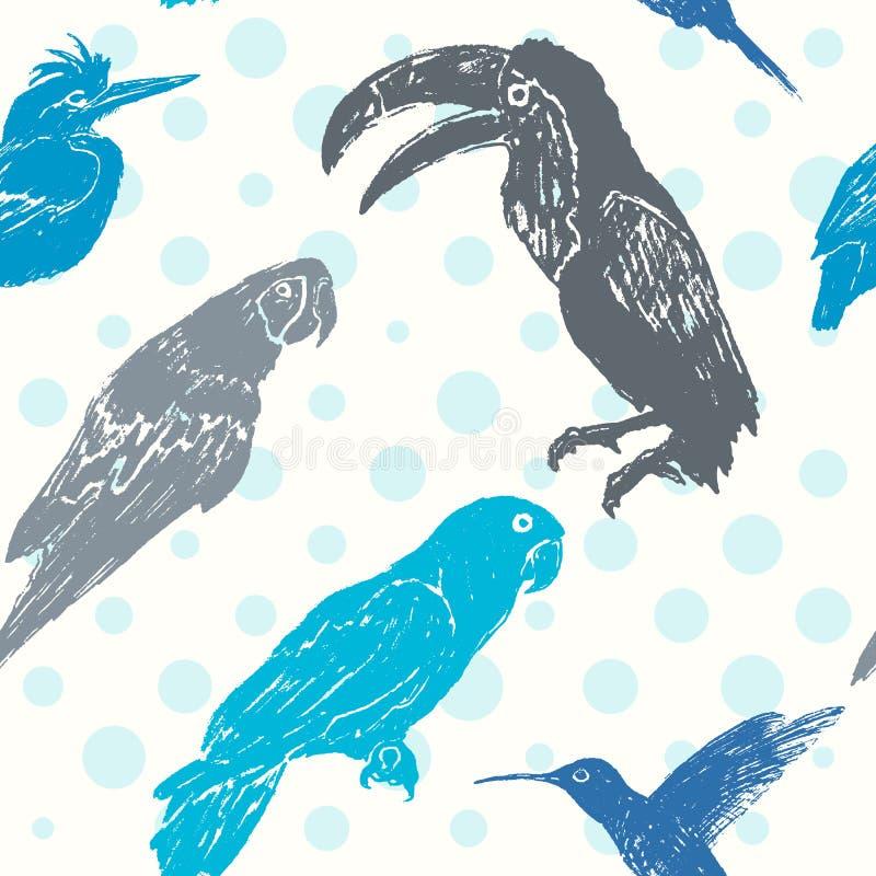 Teste padrão sem emenda tirado mão dos pássaros da tinta ilustração stock