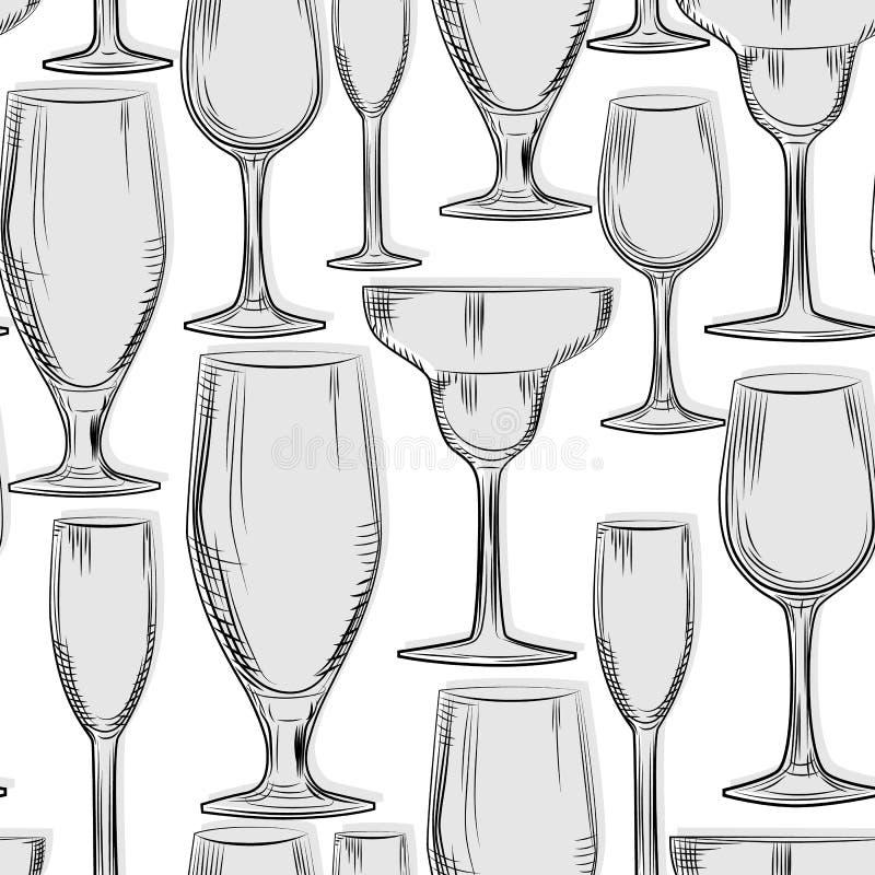 Teste padrão sem emenda tirado mão dos produtos vidreiros da barra Estilo da gravura ilustração royalty free