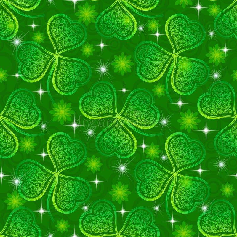 Teste padrão sem emenda, trevo verde ilustração royalty free