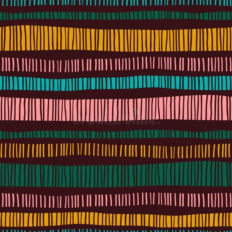 Teste padrão sem emenda tribal abstrato com listras ilustração stock