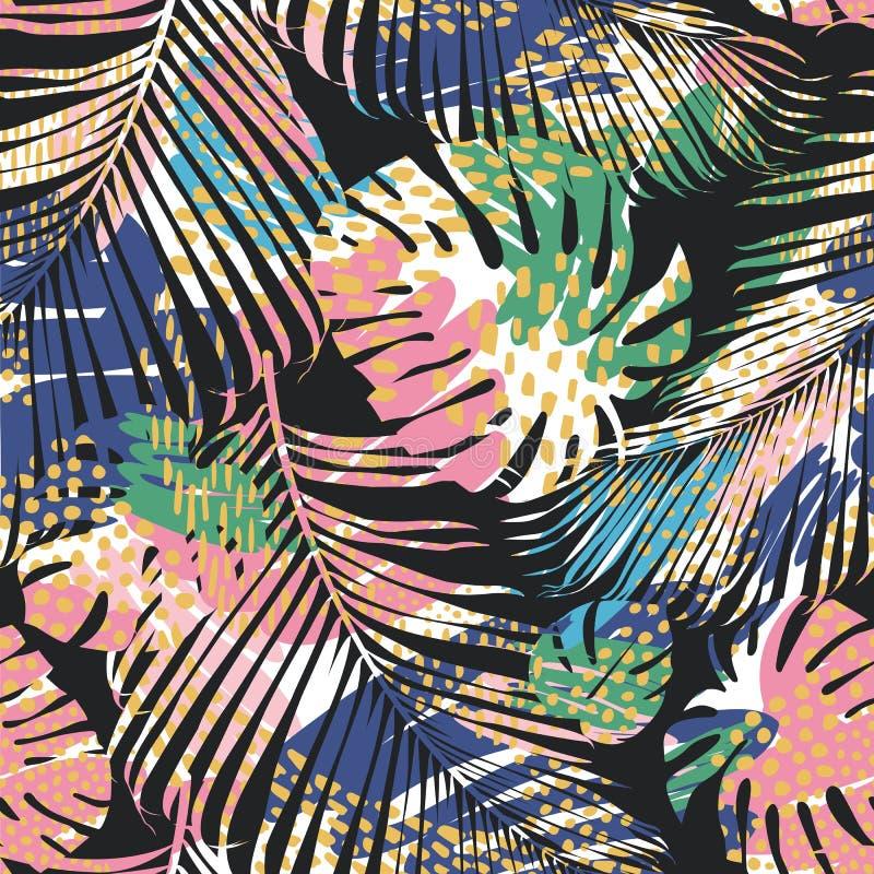 Teste padrão sem emenda tribal com folhas abstratas Tração da mão Molde do vetor ilustração royalty free