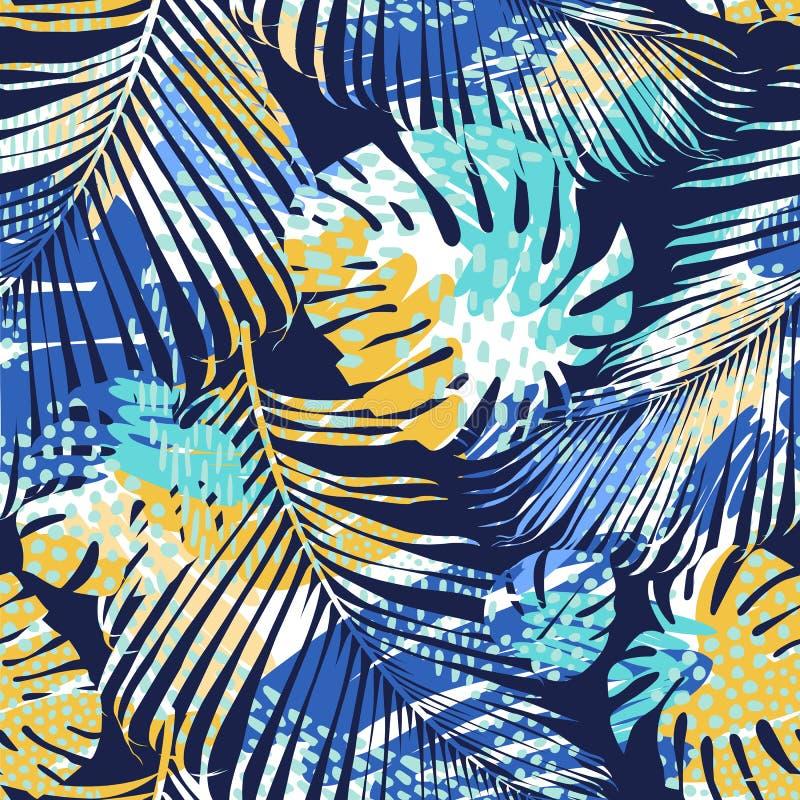 Teste padrão sem emenda tribal com folhas abstratas Tração da mão Molde do vetor ilustração stock