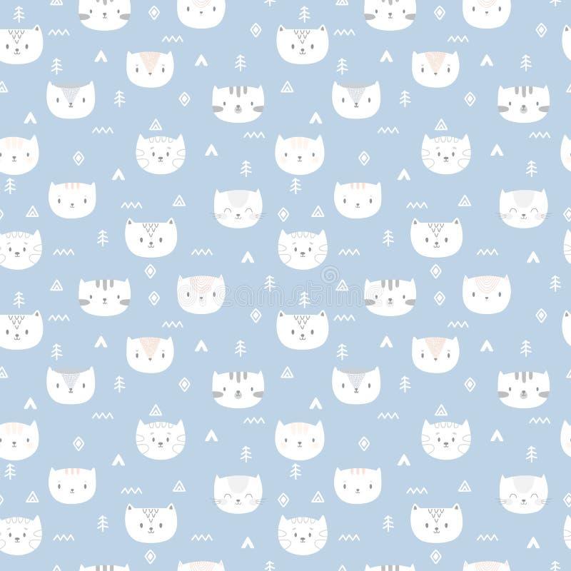 Teste padrão sem emenda tribal com gatos pequenos Cópia geométrica abstrata da arte Origem étnica tirada mão com animais bonitos ilustração do vetor
